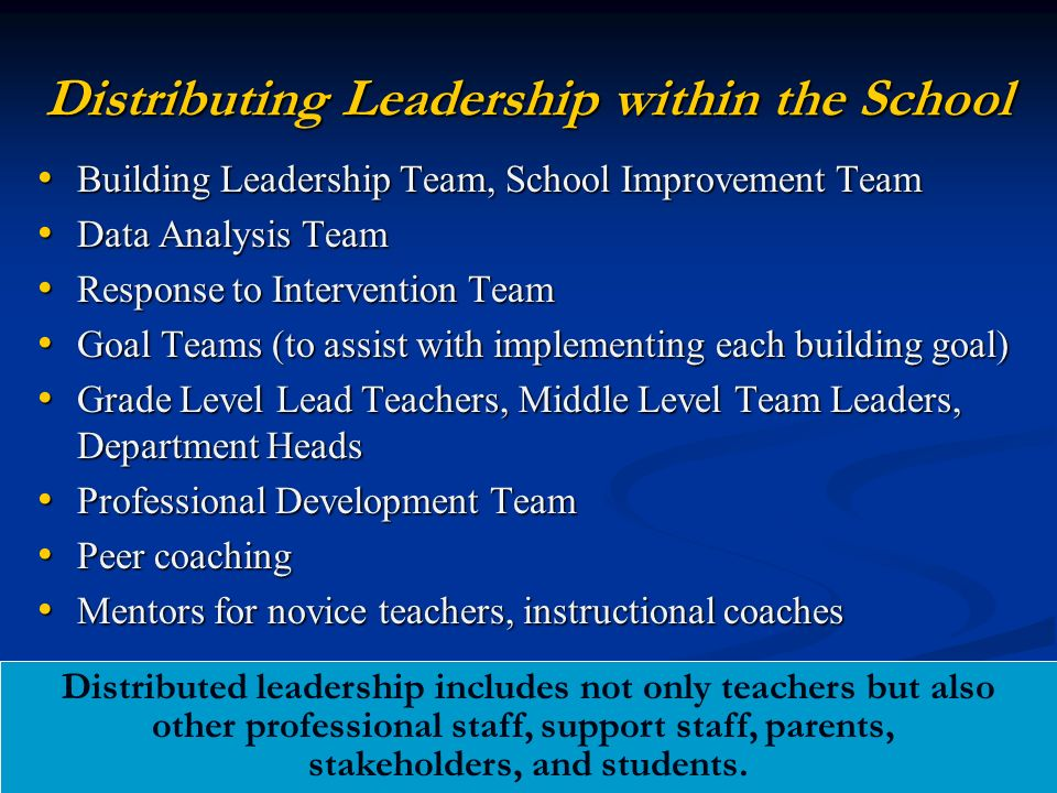 Distributing Leadership within the School