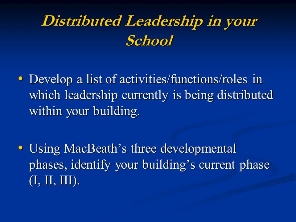 Distributed Leadership in your School