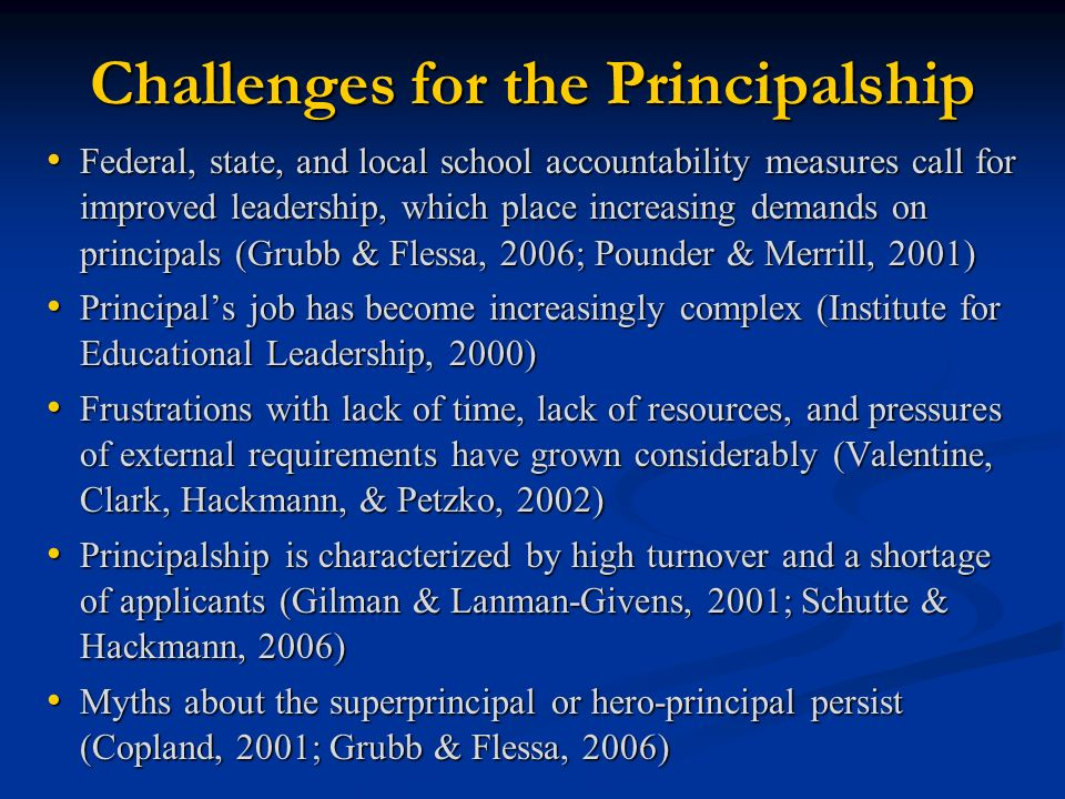Challenges for the Principalship