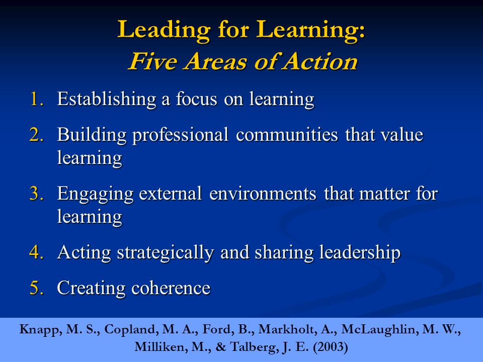 Leading for Learning: Five Areas of Action