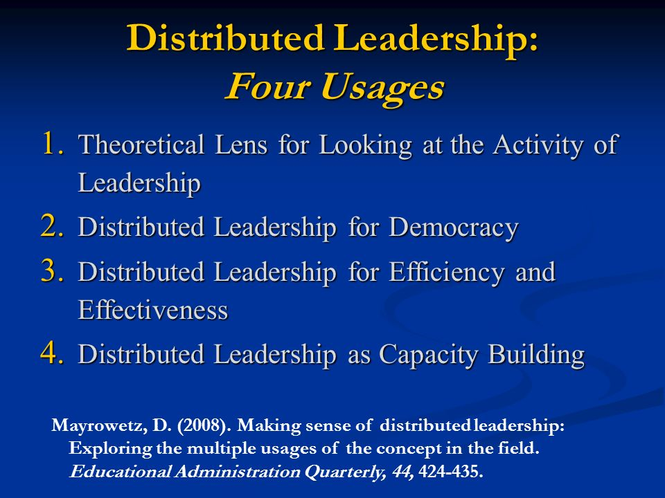 distributed leadership The powerpoint ppt presentation: distributed leadership is the property of its rightful owner do you have powerpoint slides to share if so, share your ppt presentation slides online with powershowcom.