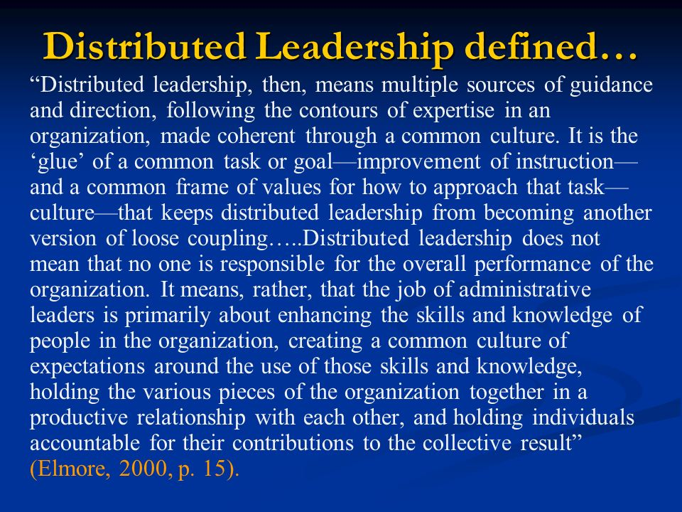 Distributed Leadership defined…