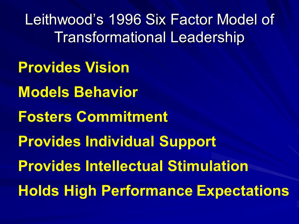 Leithwood's 1996 Six Factor Model of Transformational Leadership