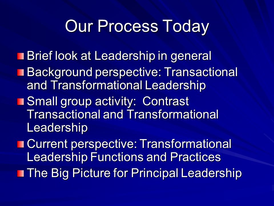 Our Process Today Brief look at Leadership in general