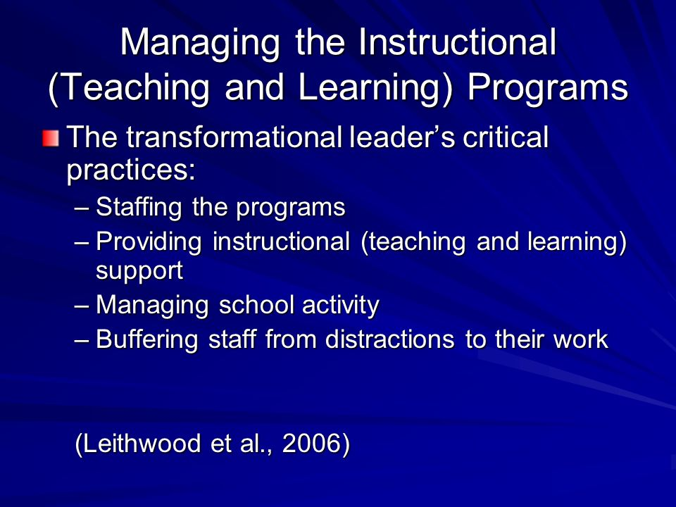 Managing the Instructional (Teaching and Learning) Programs