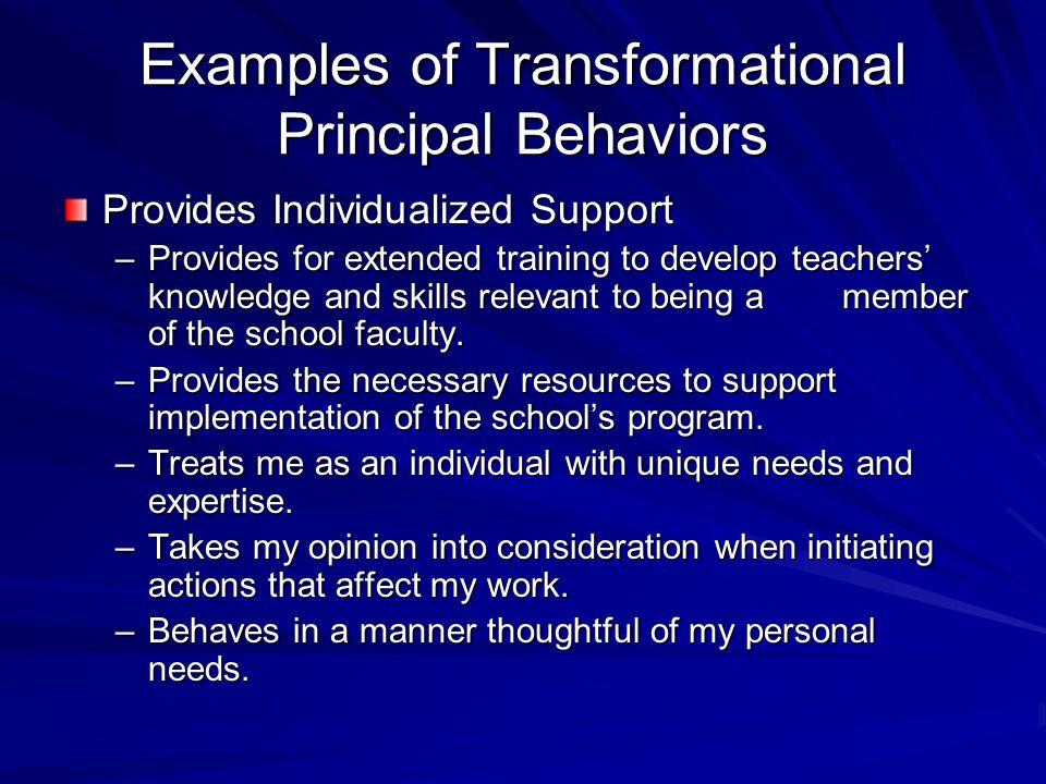 Examples of Transformational Principal Behaviors