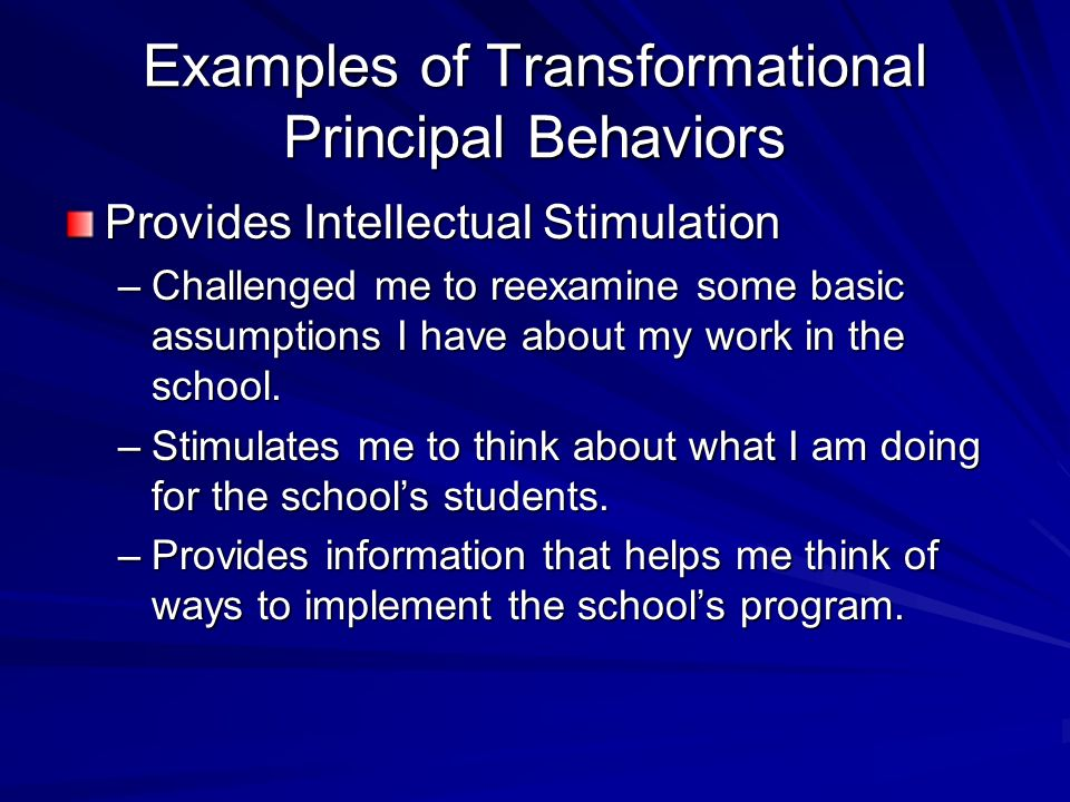 Examples of Transformational Principal Behaviors