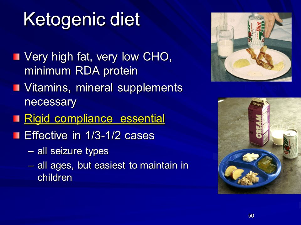 Ketogenic diet Very high fat, very low CHO, minimum RDA protein