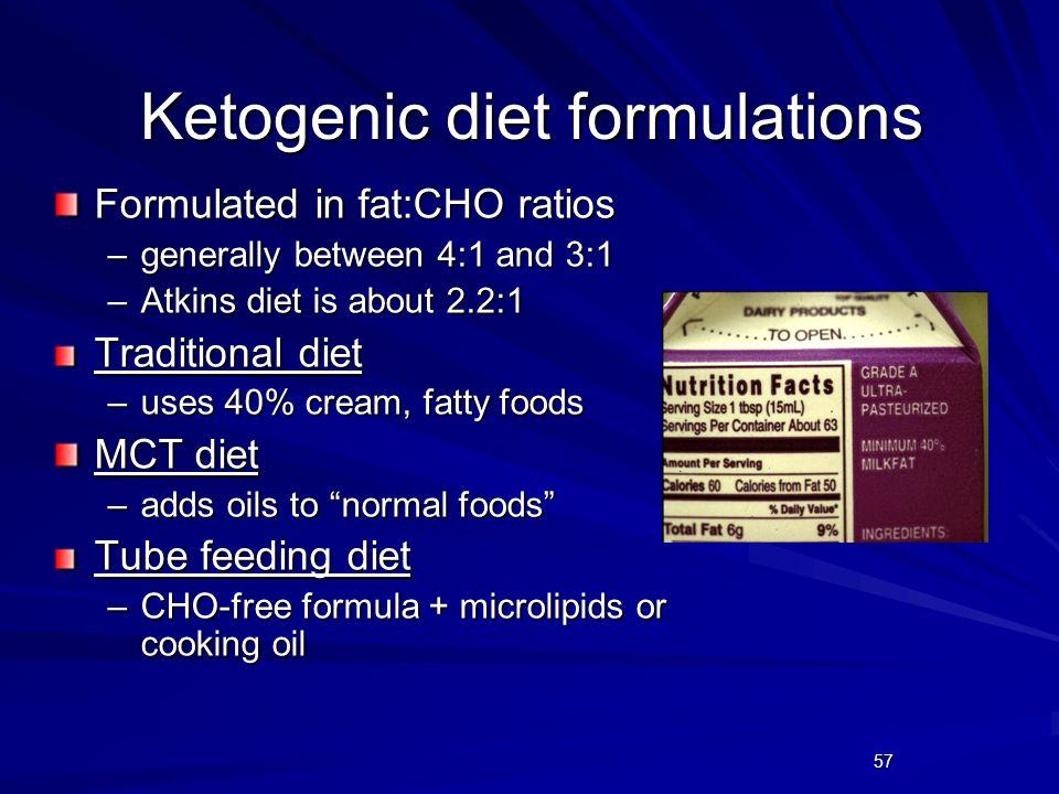 Ketogenic diet formulations
