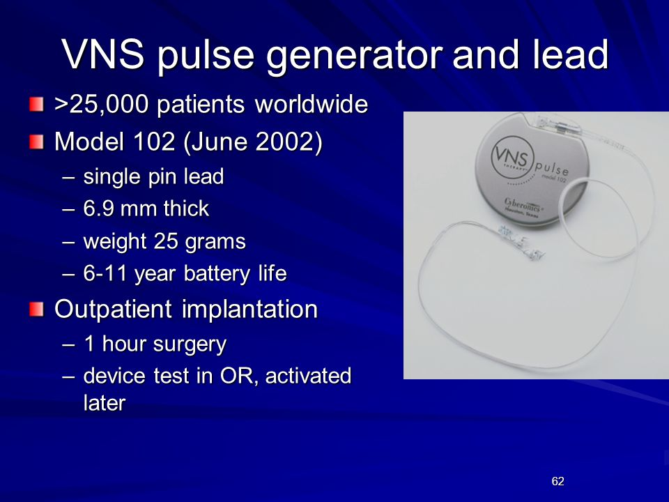 VNS pulse generator and lead