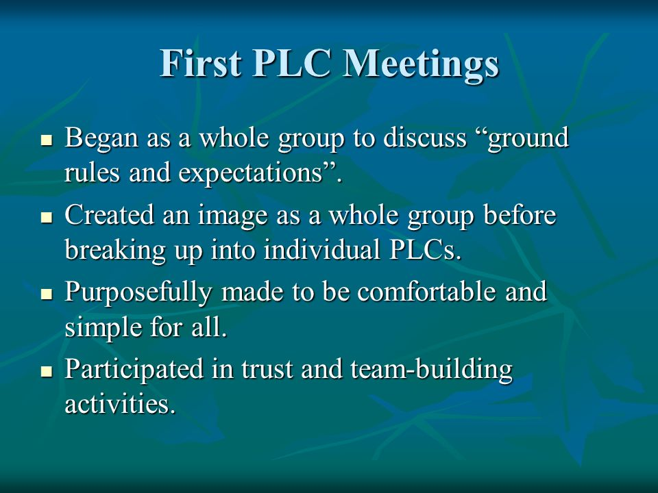 First PLC Meetings Began as a whole group to discuss ground rules and expectations .
