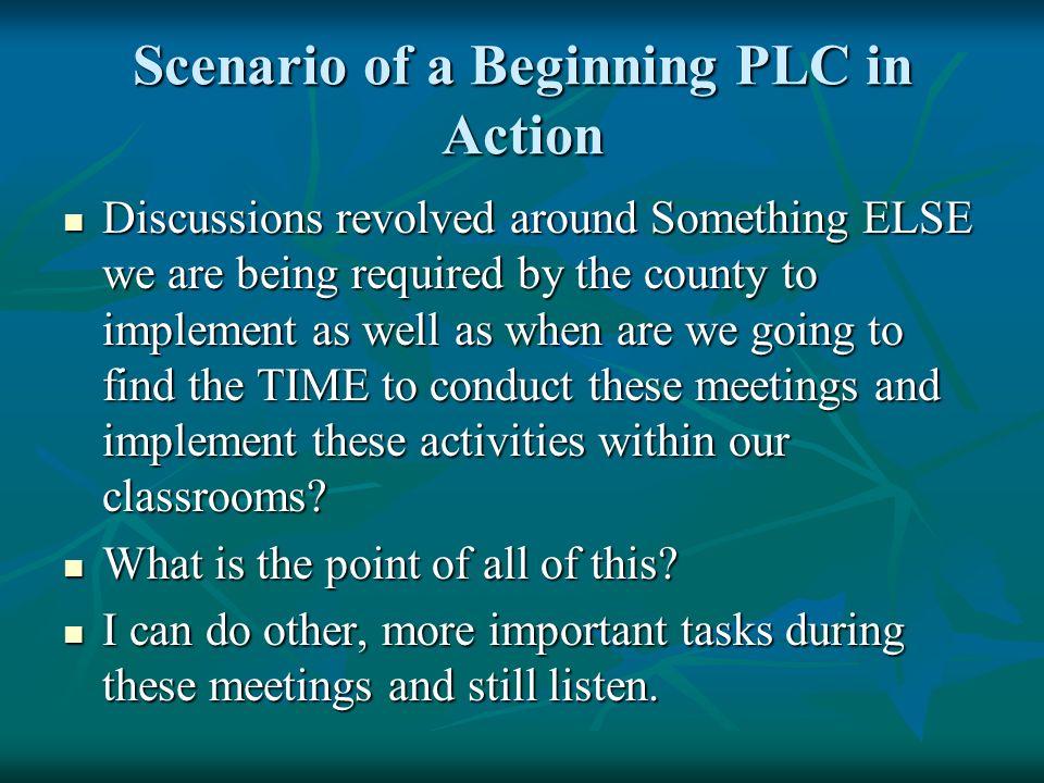 Scenario of a Beginning PLC in Action