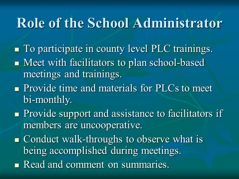 Role of the School Administrator