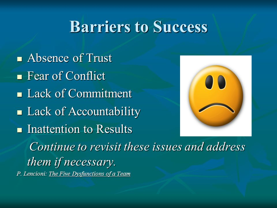 Barriers to Success Absence of Trust Fear of Conflict