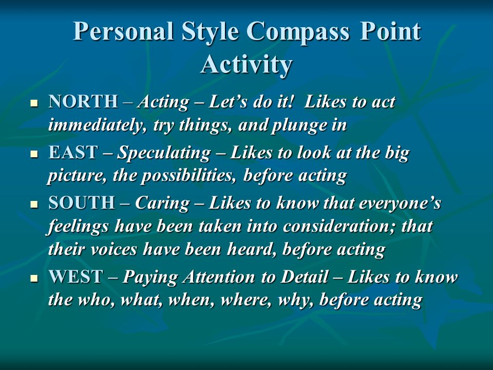 Personal Style Compass Point Activity