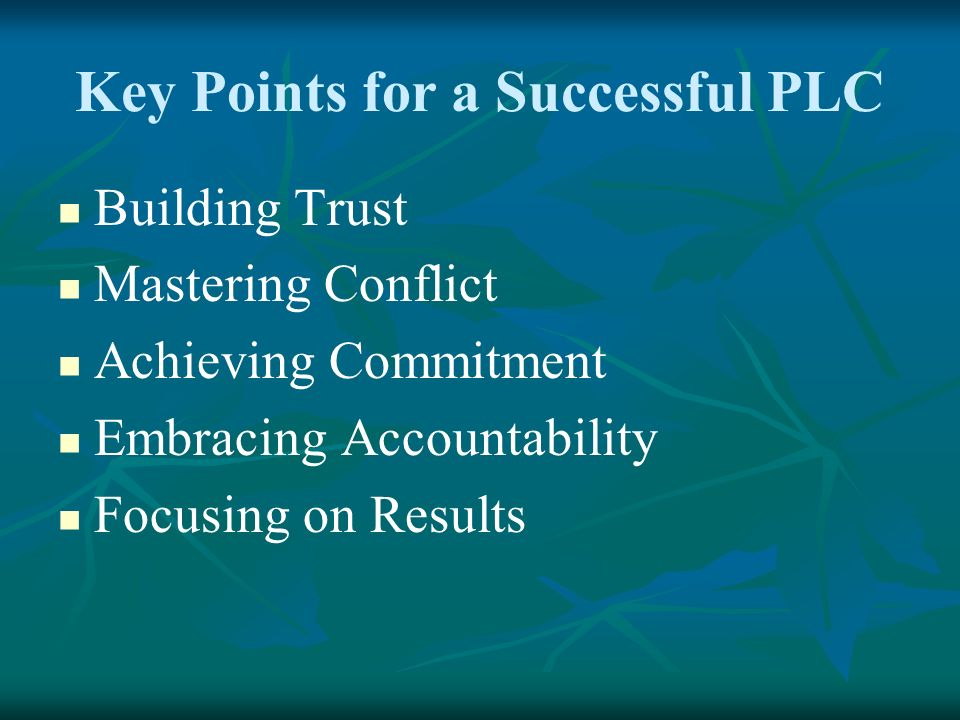Key Points for a Successful PLC