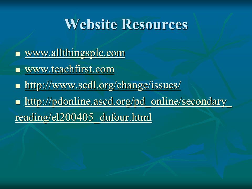 Website Resources www.allthingsplc.com www.teachfirst.com