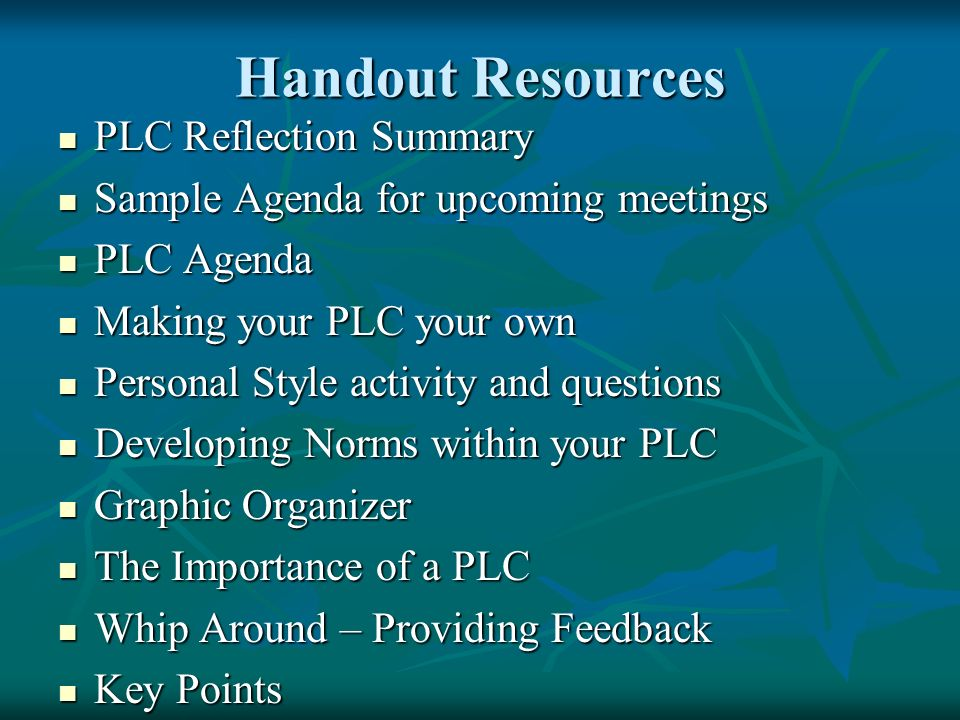 Handout Resources PLC Reflection Summary