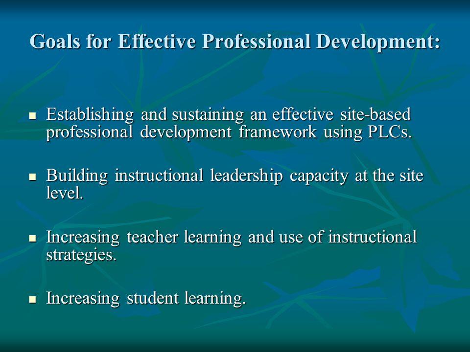Goals for Effective Professional Development: