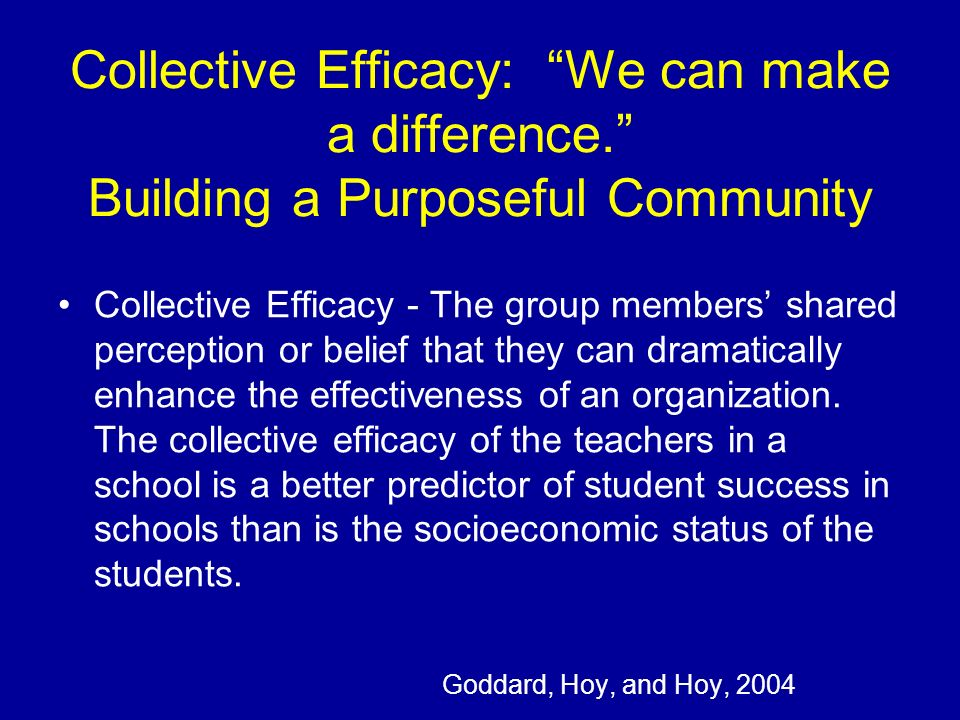 Collective Efficacy: We can make a difference