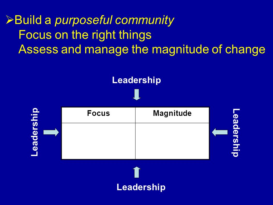 Build a purposeful community Focus on the right things Assess and manage the magnitude of change