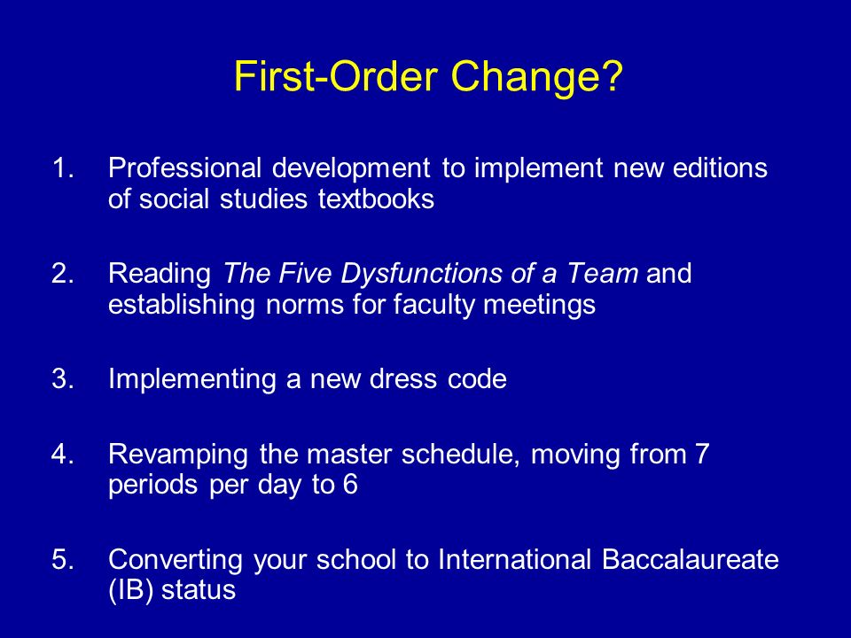 First-Order Change Professional development to implement new editions of social studies textbooks.