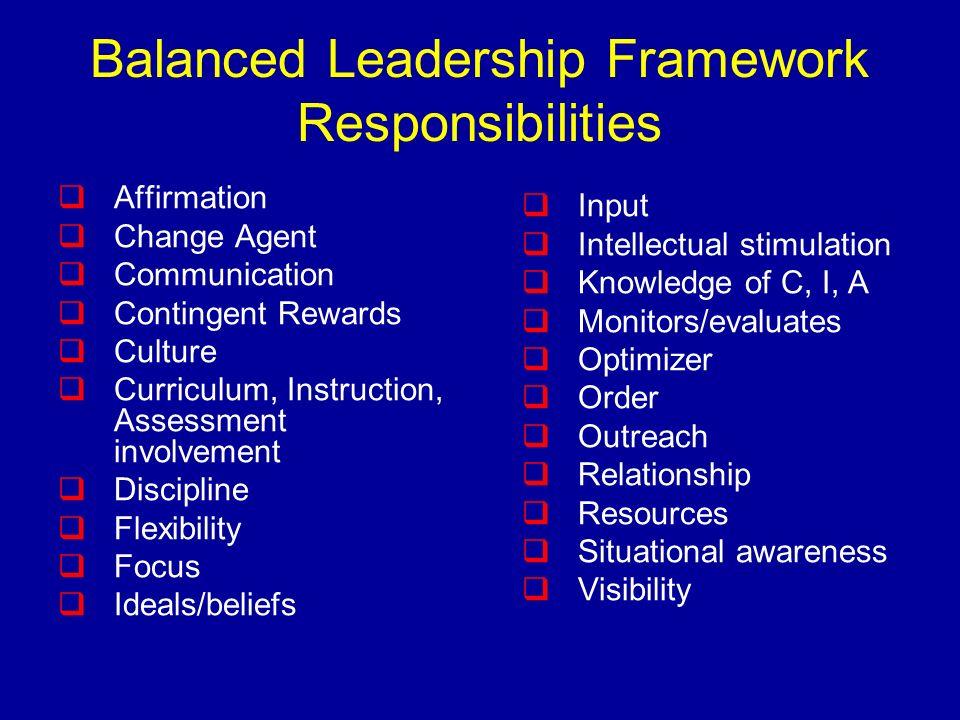 Balanced Leadership Framework Responsibilities