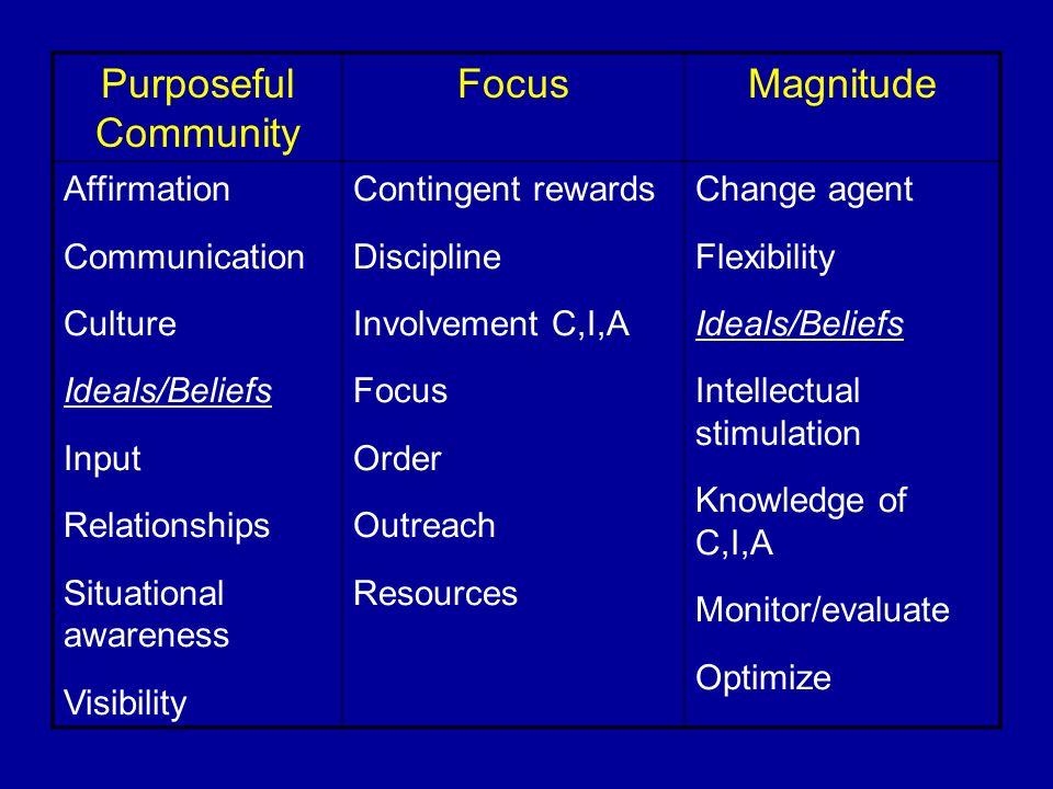 Purposeful Community Focus Magnitude Affirmation Communication Culture