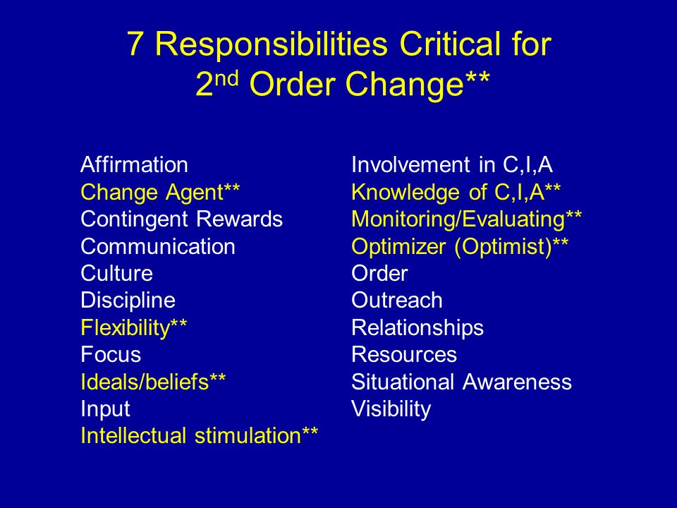 7 Responsibilities Critical for 2nd Order Change**