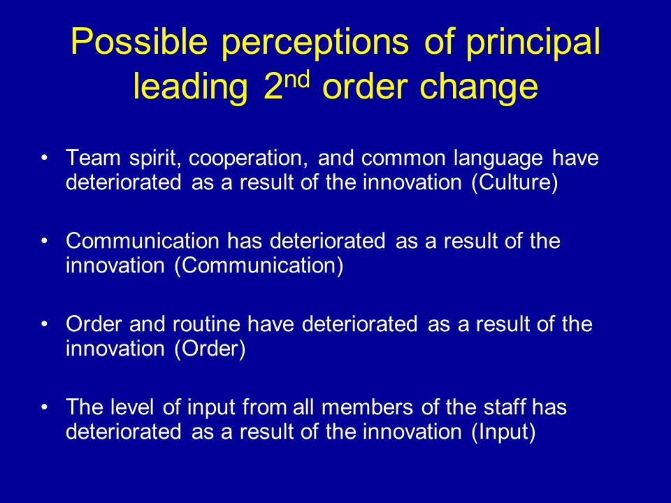 Possible perceptions of principal leading 2nd order change