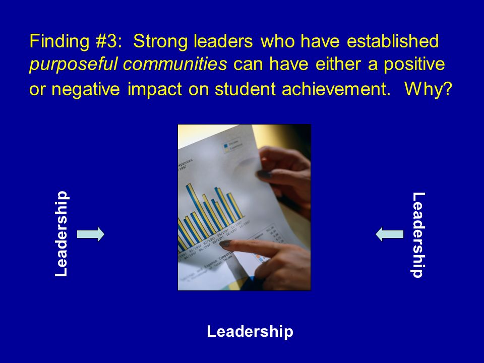 Finding #3: Strong leaders who have established purposeful communities can have either a positive or negative impact on student achievement. Why