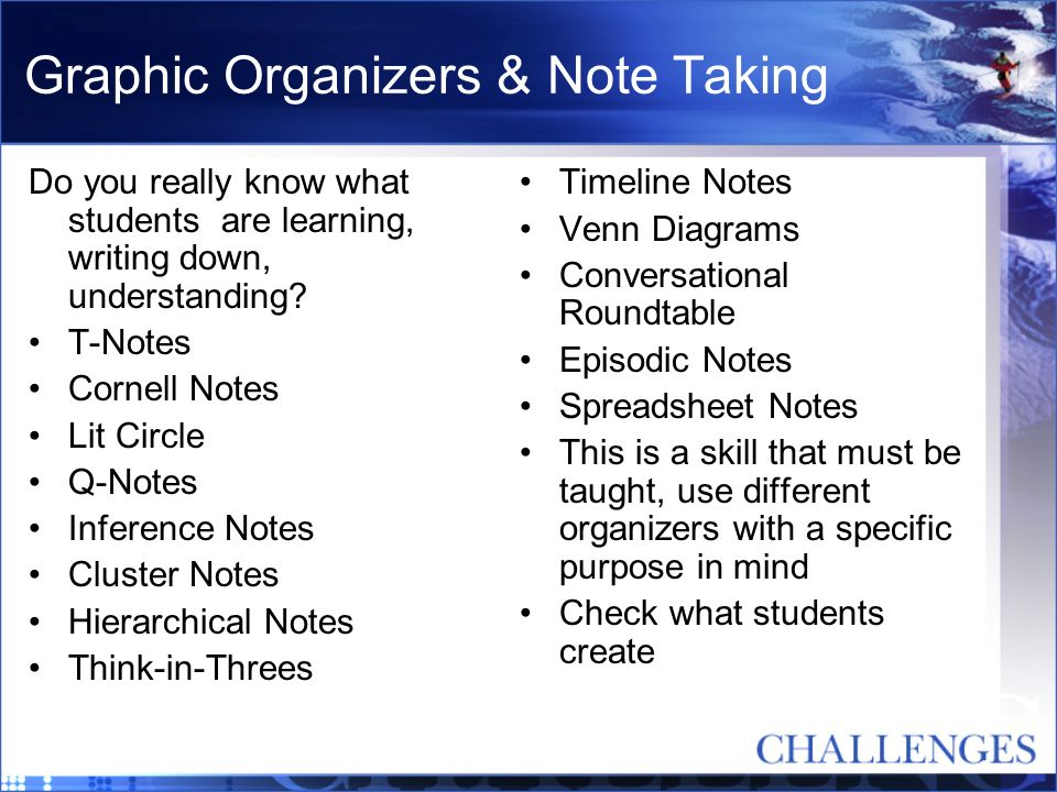 Graphic Organizers & Note Taking