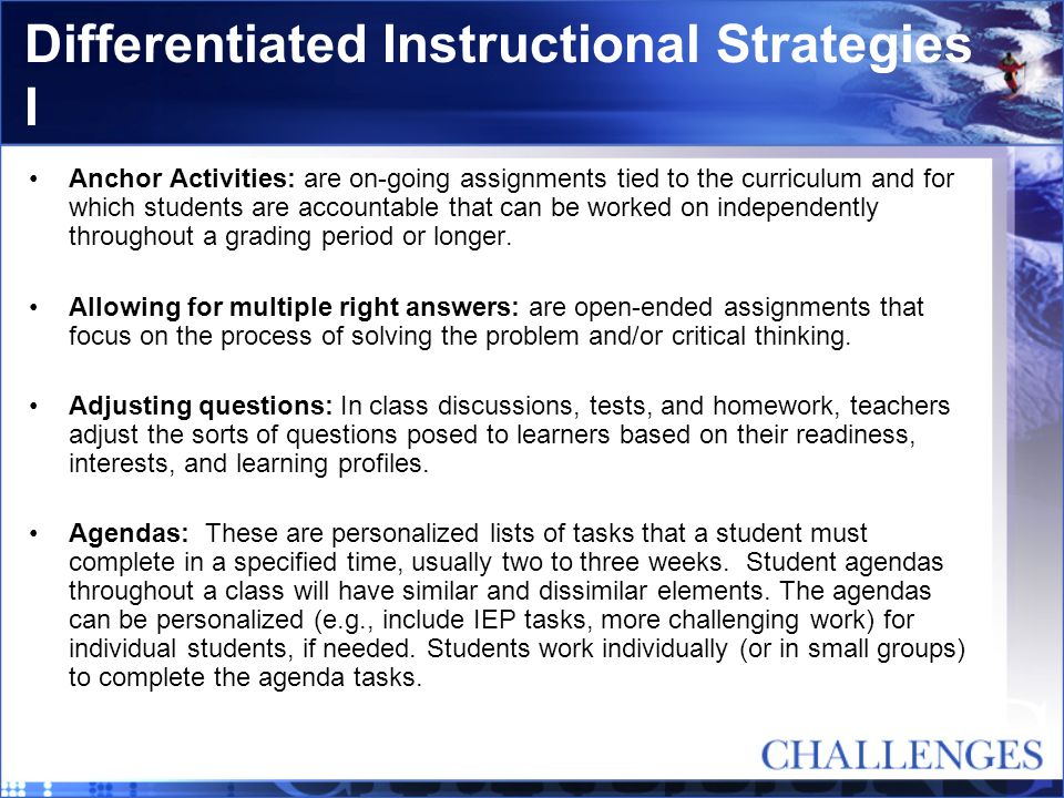 Differentiated Instructional Strategies I