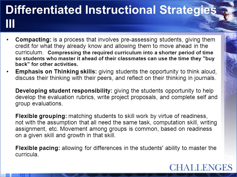 Differentiated Instructional Strategies III