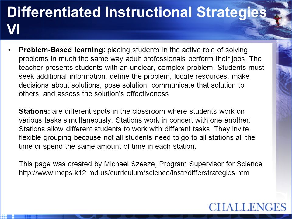 Differentiated Instructional Strategies VI