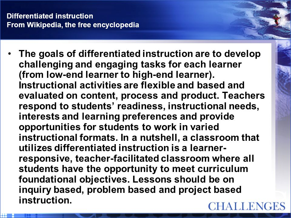 Differentiated instruction From Wikipedia, the free encyclopedia