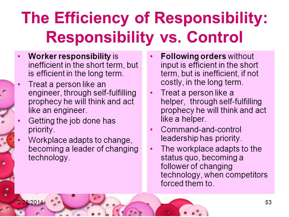 The Efficiency of Responsibility: Responsibility vs. Control