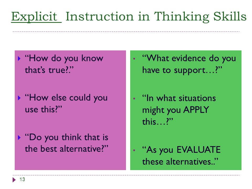Explicit Instruction in Thinking Skills