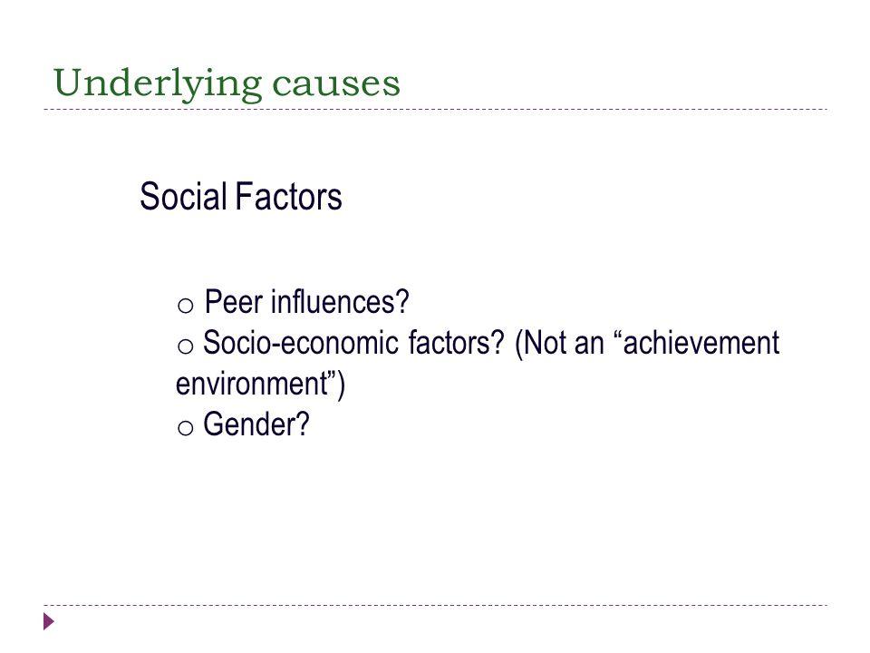 Underlying causes Social Factors Peer influences