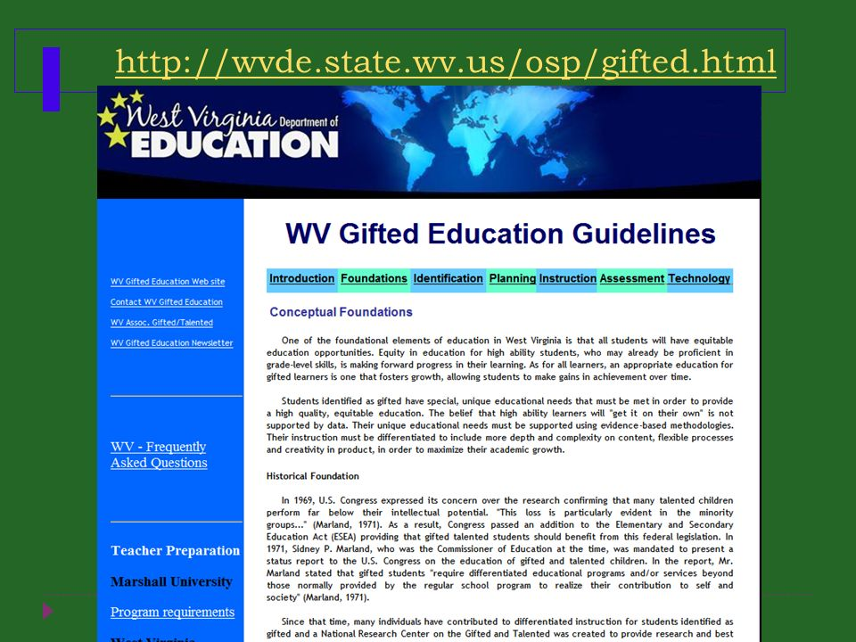 http://wvde.state.wv.us/osp/gifted.html