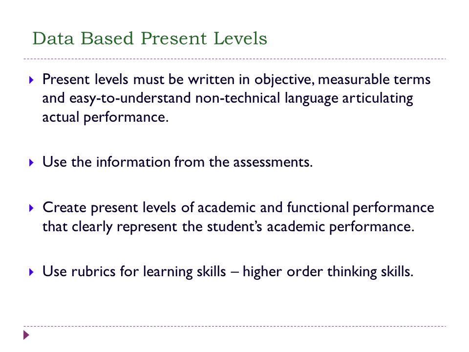 Data Based Present Levels