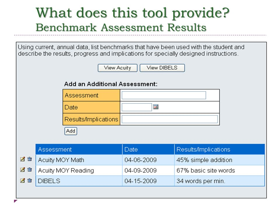 What does this tool provide Benchmark Assessment Results