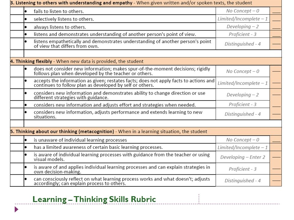 Learning – Thinking Skills Rubric