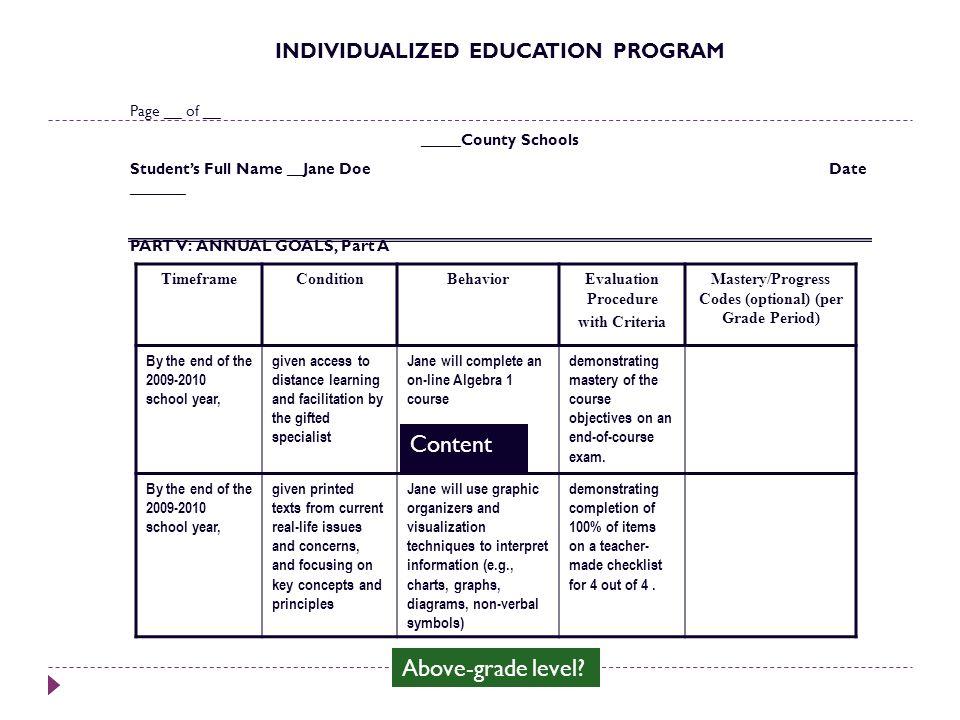 Content Above-grade level INDIVIDUALIZED EDUCATION PROGRAM