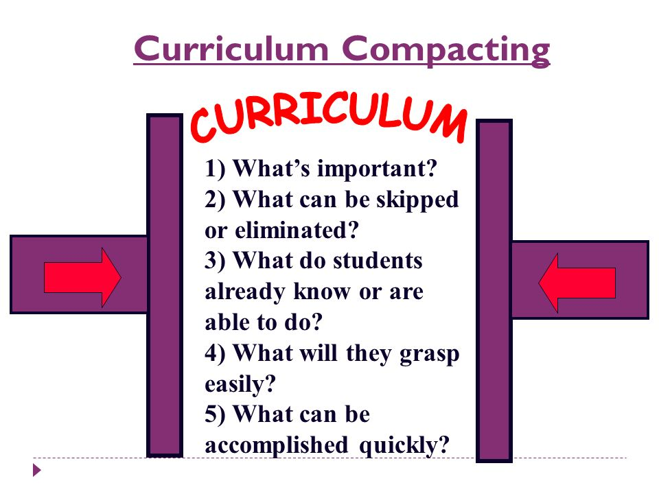 CURRICULUM Curriculum Compacting 1) What's important
