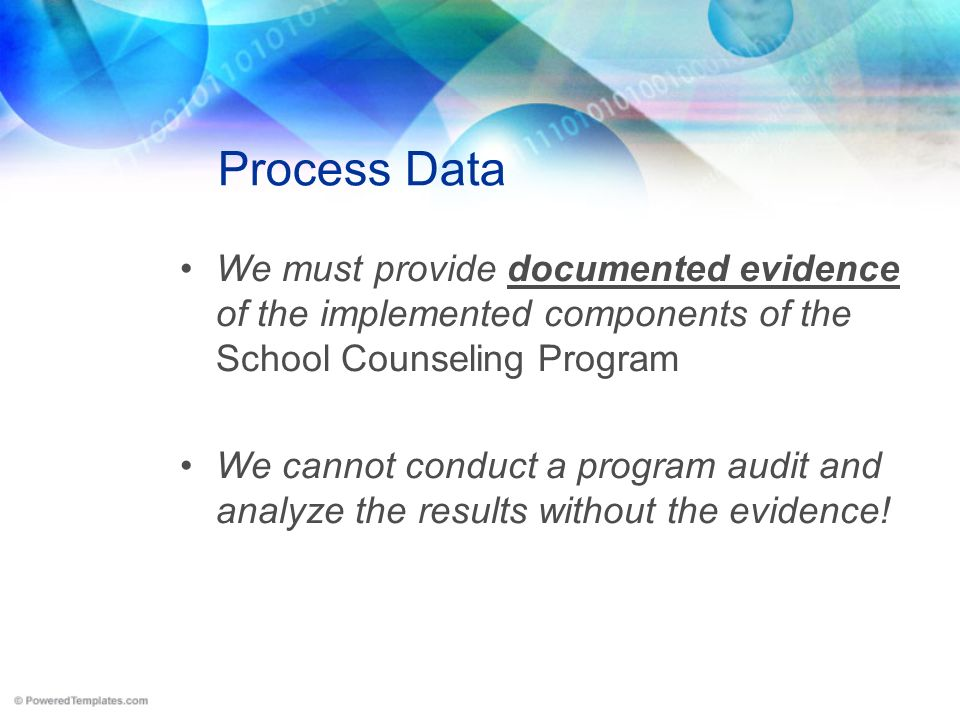 Process Data We must provide documented evidence of the implemented components of the School Counseling Program.