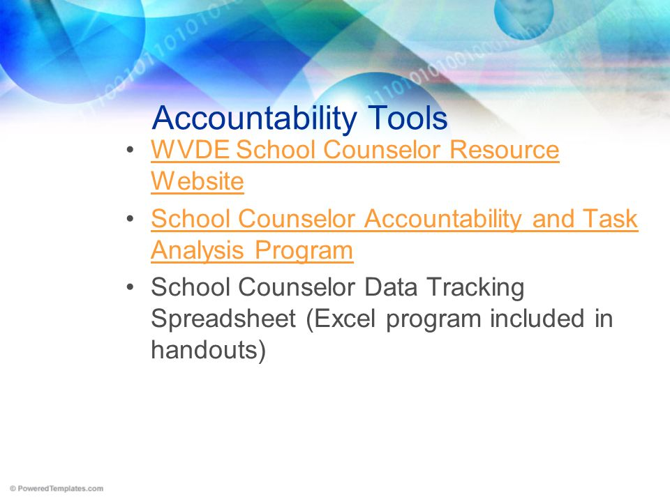 Accountability Tools WVDE School Counselor Resource Website