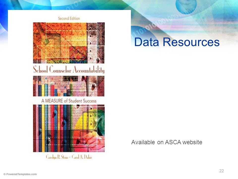 Data Resources Available on ASCA website 22