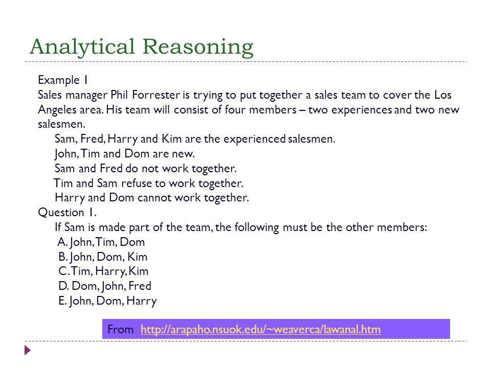 Analytical Reasoning Example 1