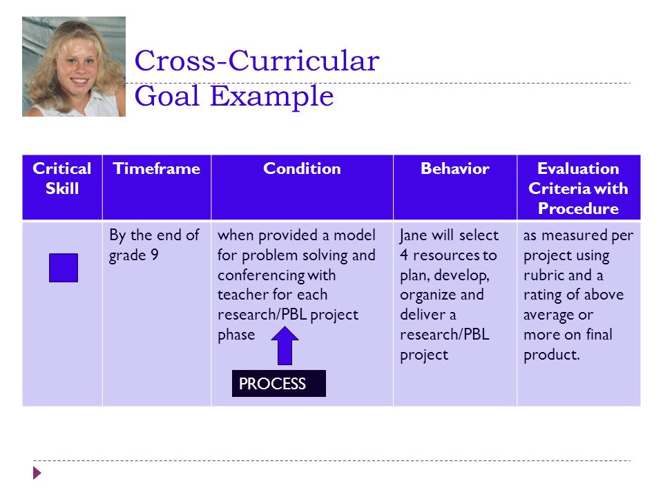 Cross-Curricular Goal Example